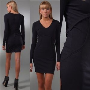 T ALEXANDER WANG Structured Bodycon Black Dress S
